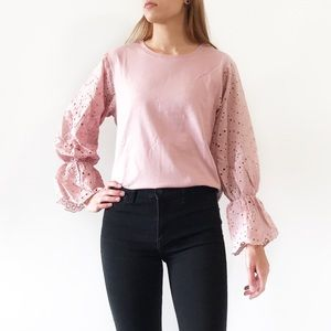 Tops - B2G1 FREE Pink cutout floral long bell sleeve top